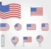 USA-Flaggenikonensatz Stockfotos