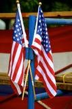 USA-flaggor i juli Arkivfoton