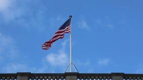 USA flagi wiatru niebo zbiory wideo