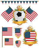 Usa flags. Set of usa soccer supporter flags and emblems, isolated on white Royalty Free Stock Image
