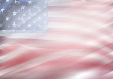 USA flags. Abstract wavy USA flags. Stars and stripes Stock Photos