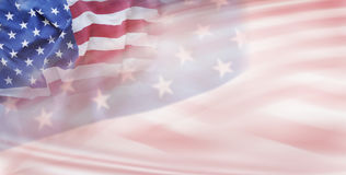 USA flags. Abstract wavy USA flags. Stars and stripes Royalty Free Stock Photography