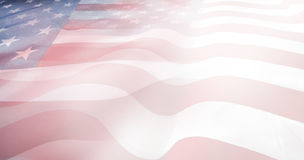 USA flags. Abstract wavy USA flags. Stars and stripes Royalty Free Stock Image