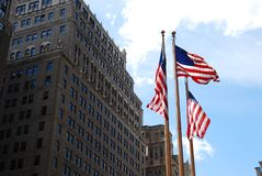 USA Flags and building Stock Photography