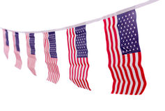 USA flags hanging proudly for July 4 Independence Day Stock Image