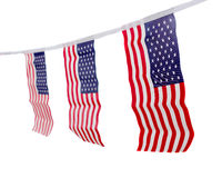 USA flags hanging proudly for July 4 Independence Day Stock Photos