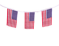 USA flags hanging proudly for July 4 Independence Day Royalty Free Stock Photography