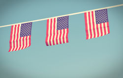 USA flags hanging prowdly for July 4 Independance Day Stock Photography