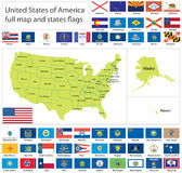 USA flags and map Stock Photos
