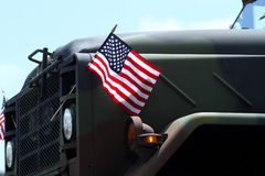 USA Flags On A Military Vehicle Royalty Free Stock Photo