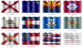 USA FLAGS POSTER (PART I) Stock Photos
