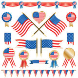 Usa flags and rosettes Stock Photos