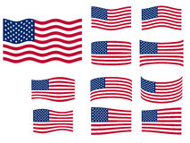 USA flags set. Vector illustration Stock Photography