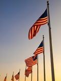 USA Flags in the Washington Monument Royalty Free Stock Photos