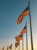 USA Flags in the Washington Monument Royalty Free Stock Photo