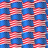 USA flags waving in a seamless pattern Royalty Free Stock Photos