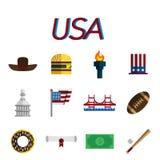 USA flat icon set Royalty Free Stock Photo
