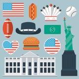USA flat icon set Royalty Free Stock Photos