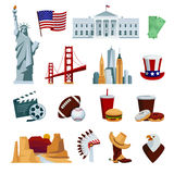 Usa flat icons set with american national symbols and skyline attractions Royalty Free Stock Image