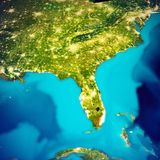 USA - Florida map. Elements of this image furnished by NASA. 3d rendering stock photo