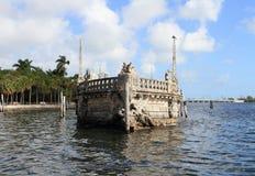 USA Florida/Miami: Turist- dragning - stenpråm av villan Vizcaya Arkivfoton