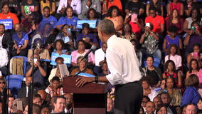 President of USA Barack Obama meet with students of Florida. USA, FLORIDA, OCTOBER 20, 2016: President of USA Barack Obama meet with students of Florida Memorial stock video