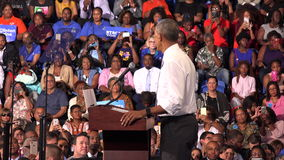 President of USA Barack Obama meet with students of Florida. USA, FLORIDA, OCTOBER 20, 2016: President of USA Barack Obama meet with students of Florida Memorial stock footage