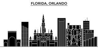 Usa, Florida Orlando architecture vector city skyline, travel cityscape with landmarks, buildings, isolated sights on. Usa, Florida Orlando architecture vector Stock Photos
