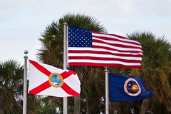 USA, Florida State and NASA Flags. In a windy day royalty free stock photo