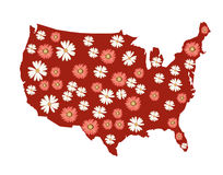 USA Flowers Map Royalty Free Stock Images