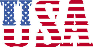 Usa font flag. Usa font with american flag background stock illustration