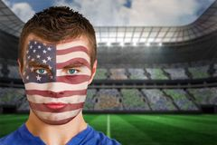 Usa football fan in face paint Royalty Free Stock Image