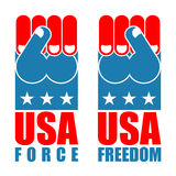 USA force hand. American freedom fist. US national symbol. Unite Royalty Free Stock Photos