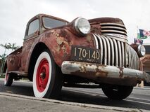 Low angle shoot of 1941 Chevy AK pickup truck with simulated rust paint
