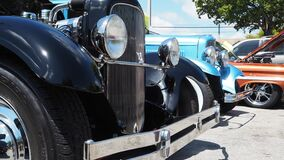 Low angle view of Black Custom rod based of 1929 Ford model A bumper