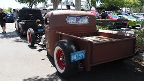 Rat rod based on Ford`s model A, rear view with tires with white band