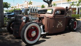 Rat rod based on Ford`s model A, shiny exposed motor