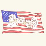 USA founding fathers flag hand drawn style vector doodle design illustrations royalty free illustration