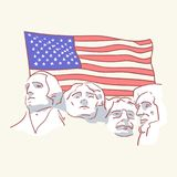 USA founding fathers flag hand drawn style vector doodle design illustrations. Set vector illustration