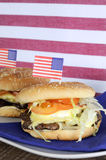 USA Fourth of July Hamburgers - Vertical. Royalty Free Stock Photos