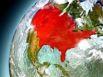 USA från omlopp av modellen Earth Arkivfoton