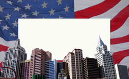 USA frame. Flag and skyscrapers; copyspace royalty free stock photography
