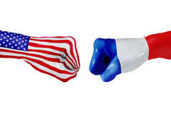 USA and France flag. Concept fight, business competition, conflict or sporting events Stock Images