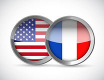 Usa and france union seals illustration Royalty Free Stock Photos