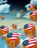 USA Freedom. Winged flaming hearts fly into the twilight Vector Illustration
