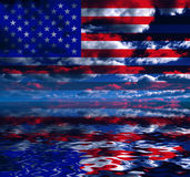USA Freedom. USA clouds and flag reflection Royalty Free Stock Photography