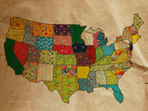 USA funny map on the old paper. Illustration for kids Stock Photo