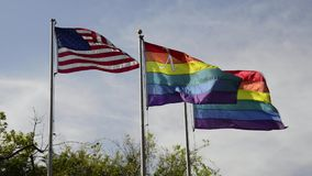 USA and gay flags stock video footage