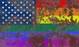 USA gay grunge flag, LGBT USA flag.  Royalty Free Stock Image
