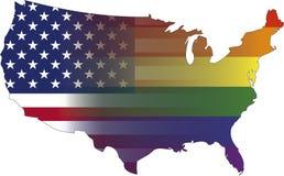 USA Gay Pride. USA flag and gay pride Flag Royalty Free Stock Photos